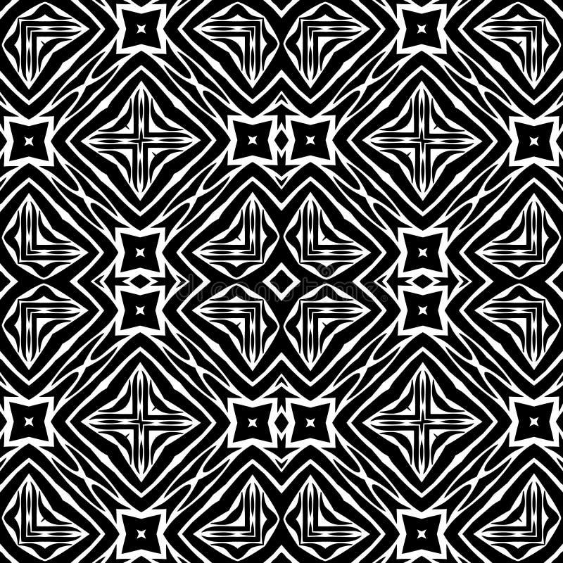 Sömlös svartvit blom- modell för vektortappning stock illustrationer