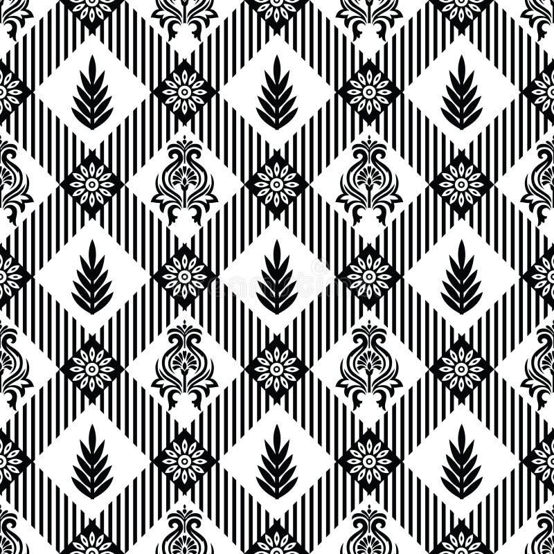 Sömlös svartvit damast rutig modell vektor illustrationer