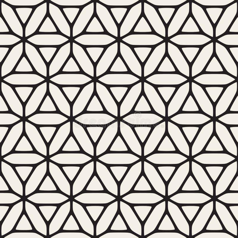 Sömlös svartvit etnisk geometrisk blom- modell för vektor stock illustrationer
