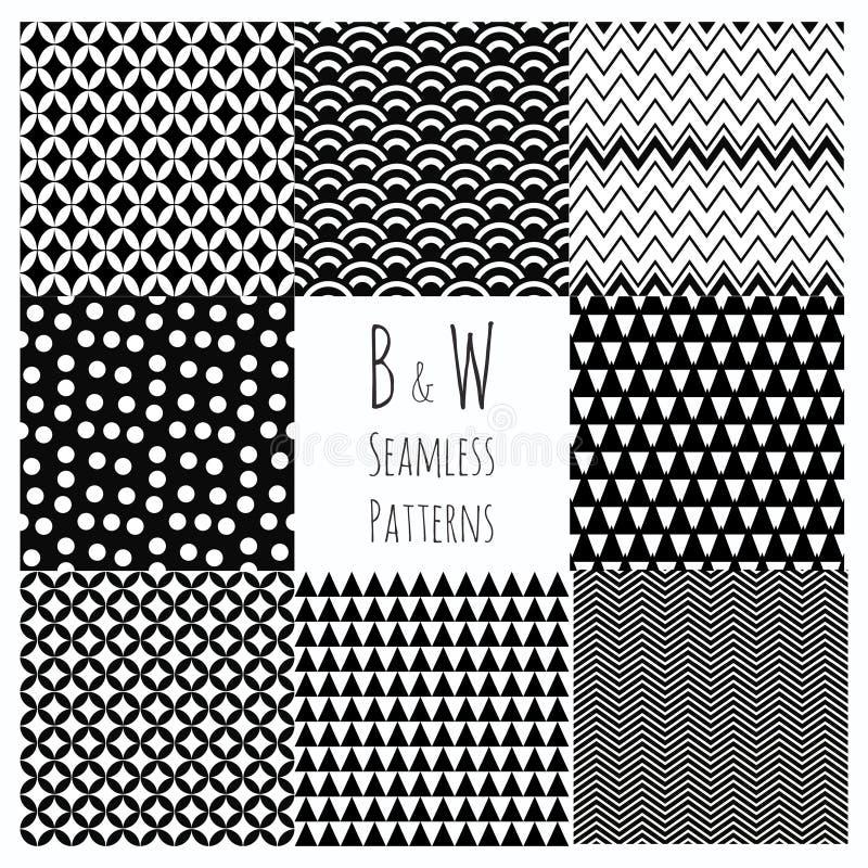 Sömlös svartvit geometrisk bakgrundsuppsättning. vektor illustrationer