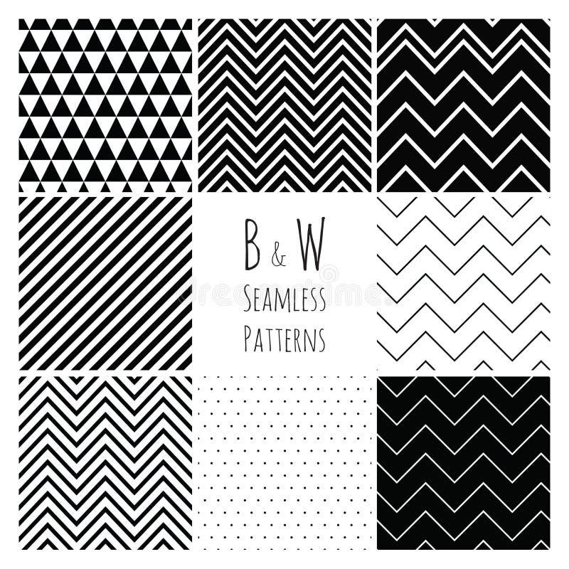 Sömlös svartvit geometrisk bakgrundsuppsättning. royaltyfri illustrationer