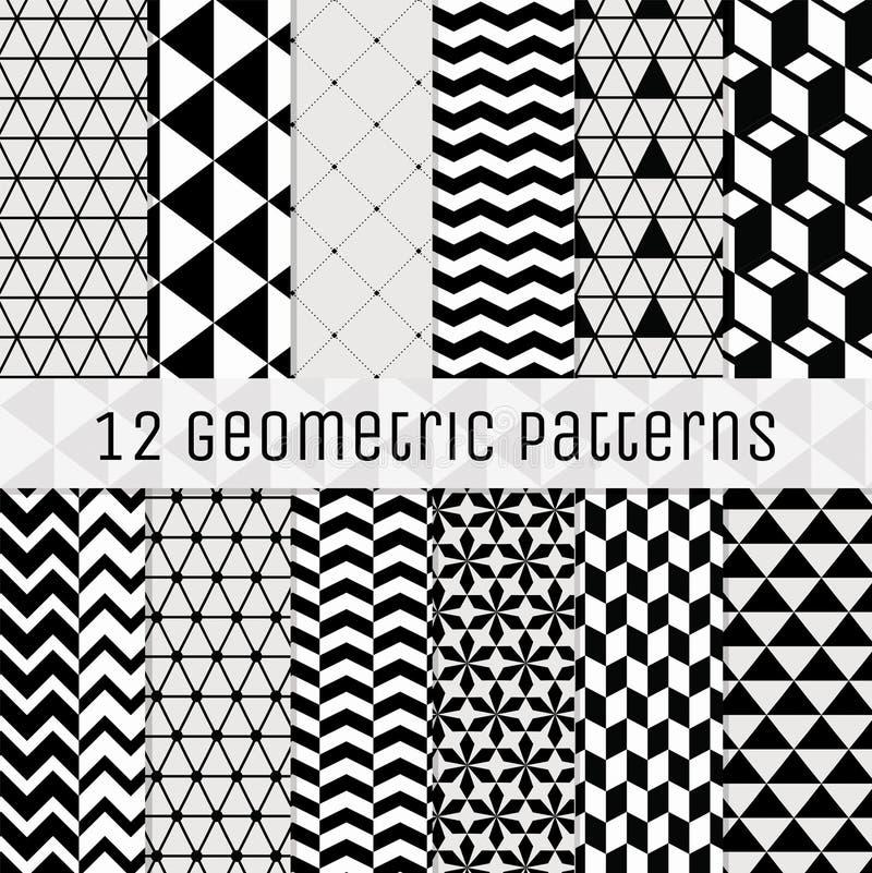 Sömlös svartvit geometrisk bakgrundsuppsättning stock illustrationer