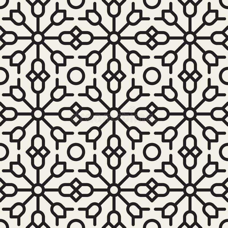 Sömlös svartvit geometrisk etnisk blom- linje prydnadmodell för vektor stock illustrationer