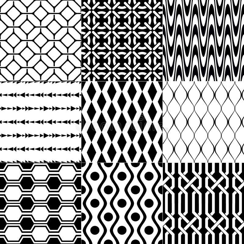 Sömlös svartvit geometrisk modell royaltyfri illustrationer