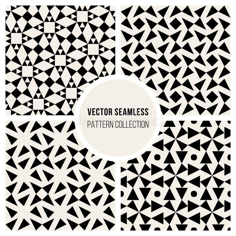 Sömlös svartvit geometrisk modellsamling för vektor royaltyfri illustrationer