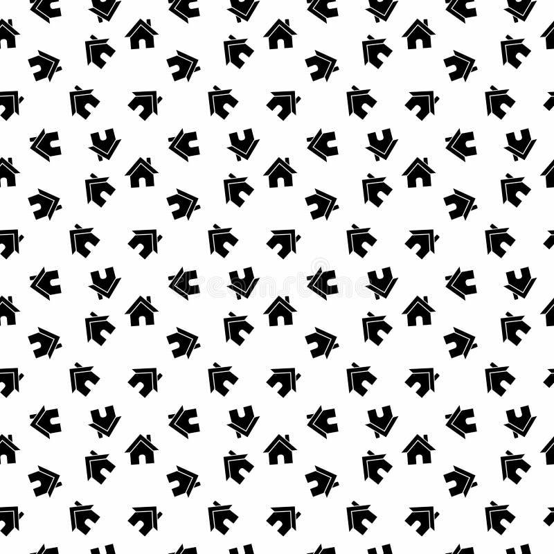 Sömlös svartvit hem- modellbakgrund för vektor stock illustrationer