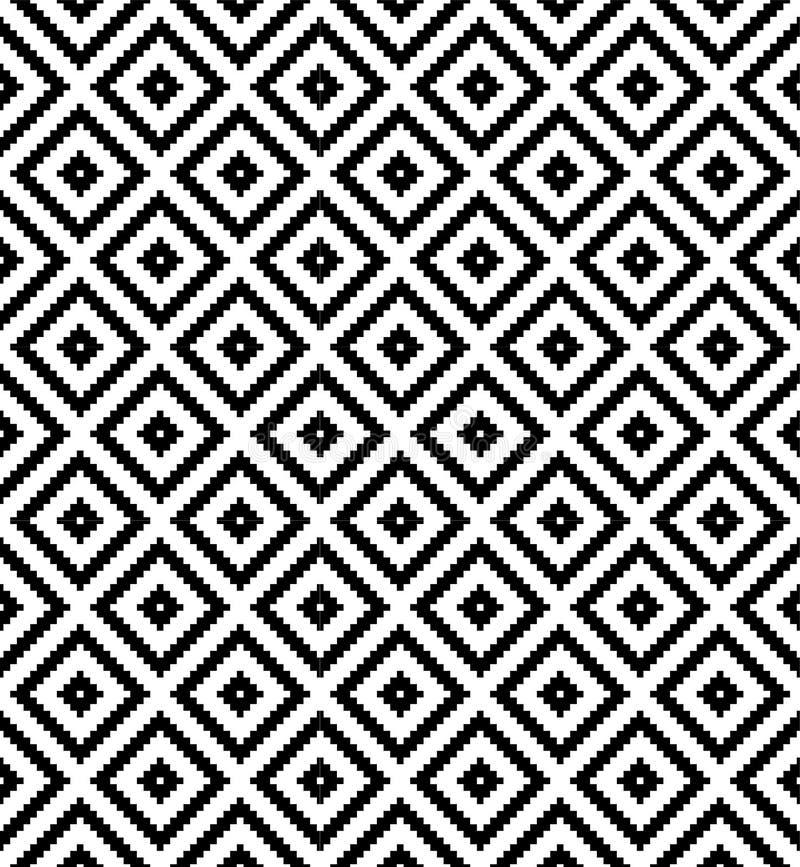 Sömlös svartvit modell för repetition för PIXEL för diamantrasterkontroll royaltyfri illustrationer