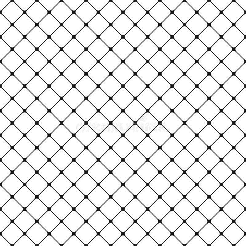 Sömlös svartvit rundad fyrkantig bakgrund för rastermodell - vektordiagram från diagonala fyrkanter royaltyfri illustrationer