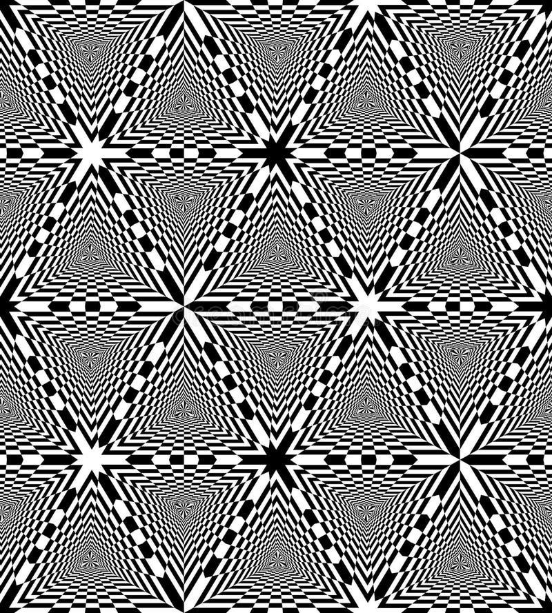 Sömlös svartvit schackbrädetriangelmodell geometrisk abstrakt bakgrund Optisk illusion av perspektivet stock illustrationer