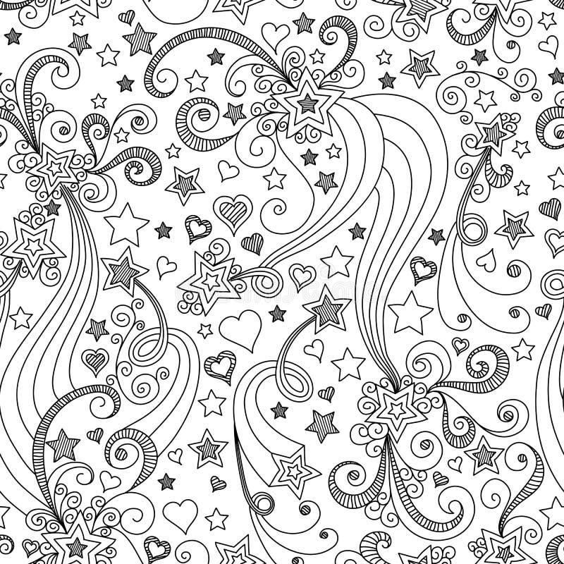 Sömlös svartvit stjärnamodell för vektor stock illustrationer