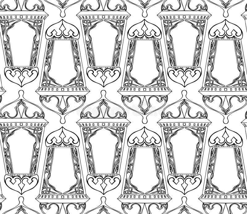 Sömlös svartvit textur med översikten av den arabiska lyktan royaltyfri illustrationer