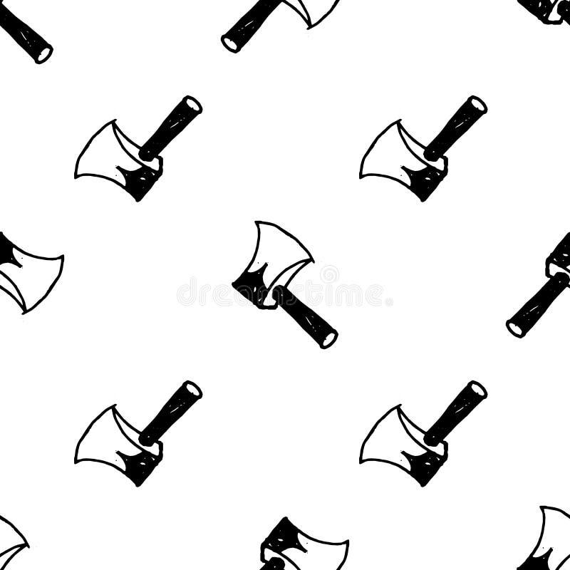 Sömlös symbol för modellklotteryxa Handen dragen svart skissar teckensymbol Taget i Genua, Italien Isolerat p? vitbakgrunden vektor illustrationer