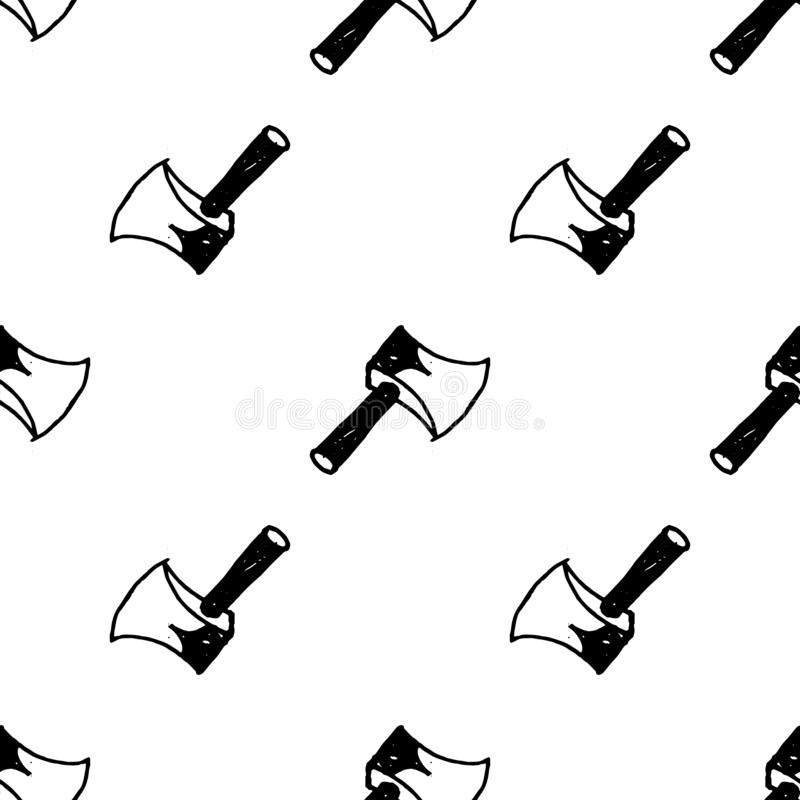 Sömlös symbol för modellklotteryxa Handen dragen svart skissar teckensymbol Taget i Genua, Italien Isolerat p? vitbakgrunden royaltyfri illustrationer