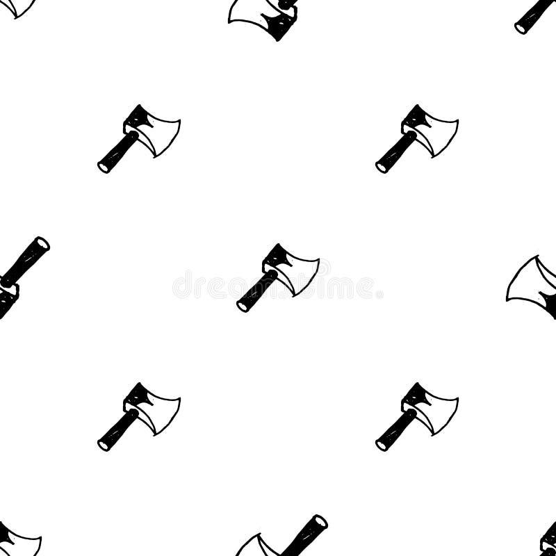 Sömlös symbol för modellklotteryxa Handen dragen svart skissar teckensymbol Taget i Genua, Italien Isolerat p? vitbakgrunden stock illustrationer