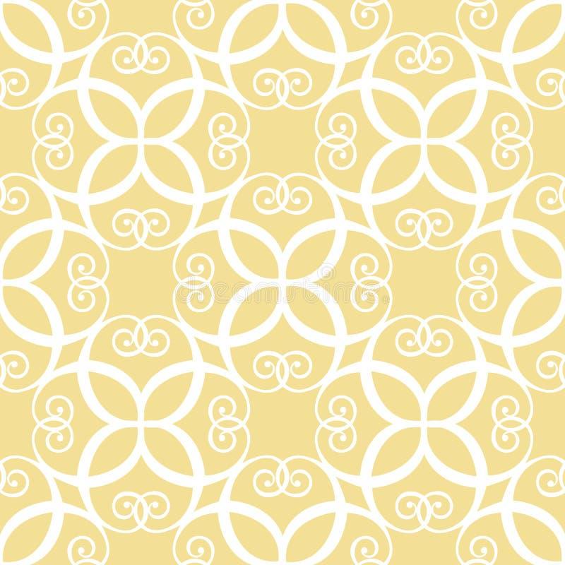 Sömlös symmetrisk gul modell royaltyfri illustrationer