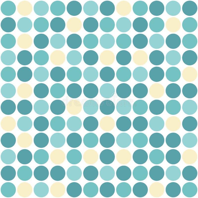 Sömlös symmetrisk modell av blått- och gulingcirklar på vit Kalejdoskopbakgrund royaltyfri illustrationer