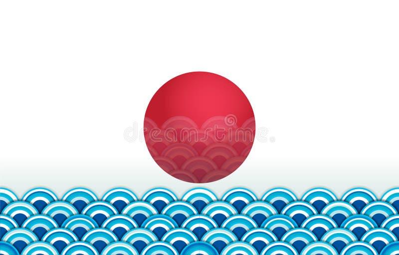 Sömlös tapet för japansk våg med den röda solen vektor illustrationer