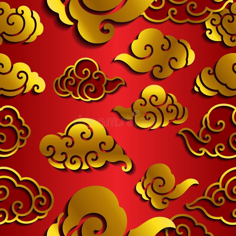 Sömlös tapet för kinesisk molnvåg stock illustrationer