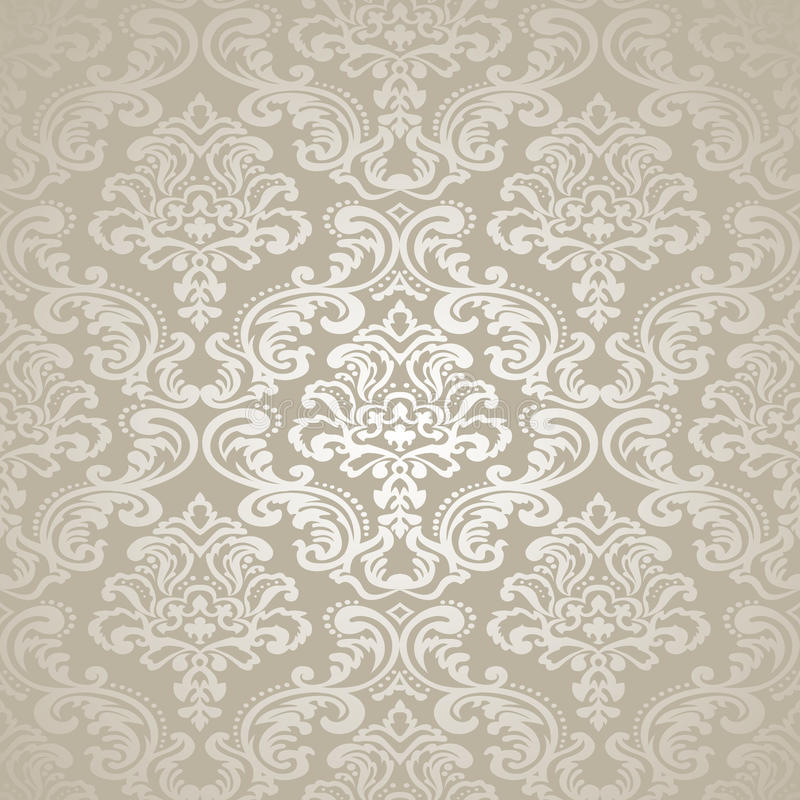 Sömlös tapet för modell Background.Damask. royaltyfri illustrationer