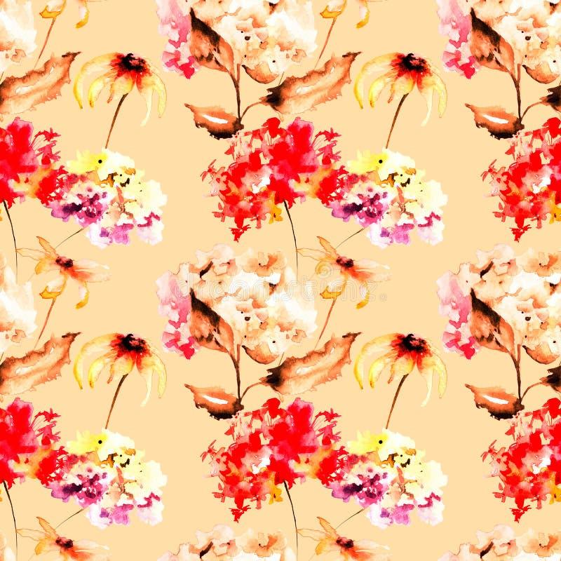 Sömlös tapet med Gerber och vanlig hortensiablommor vektor illustrationer