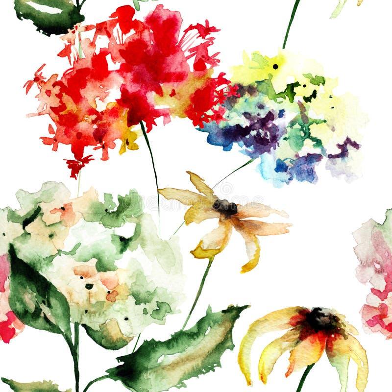 Sömlös tapet med Gerber och vanlig hortensiablommor royaltyfri illustrationer