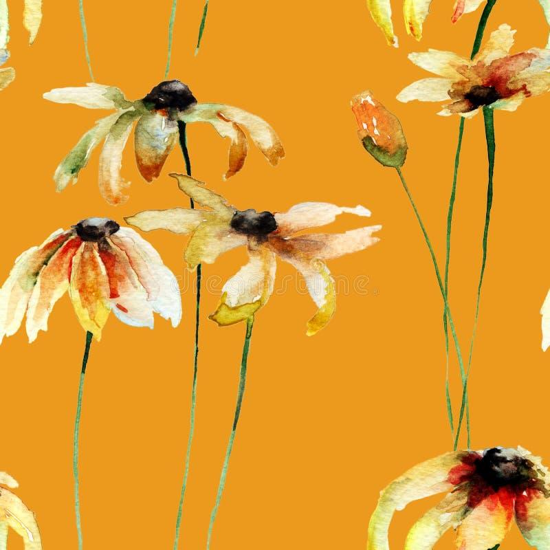 Sömlös tapet med gula Gerber blommor royaltyfri illustrationer