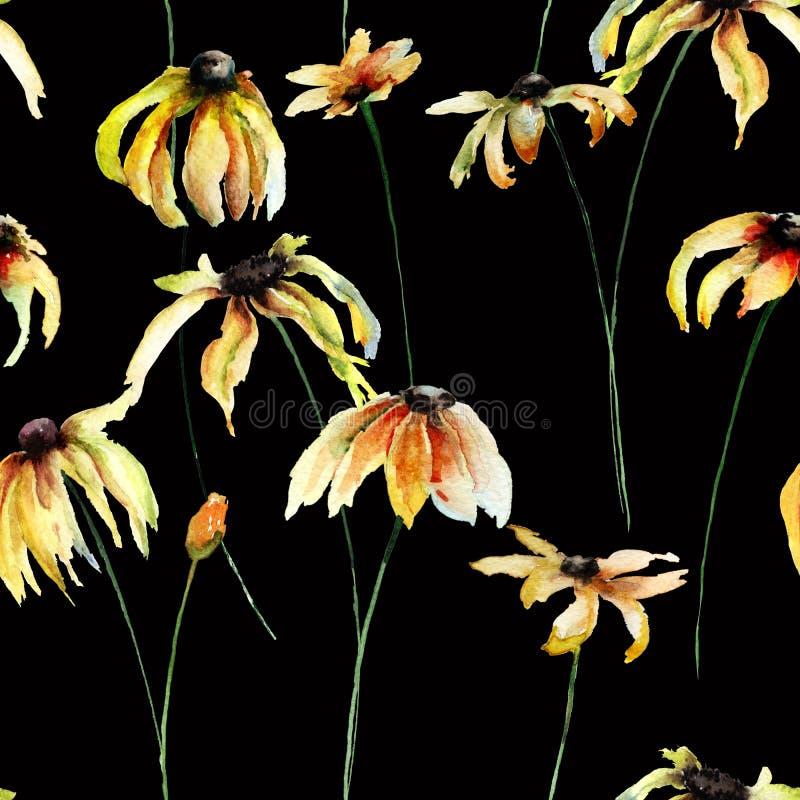 Sömlös tapet med gula Gerber blommor vektor illustrationer