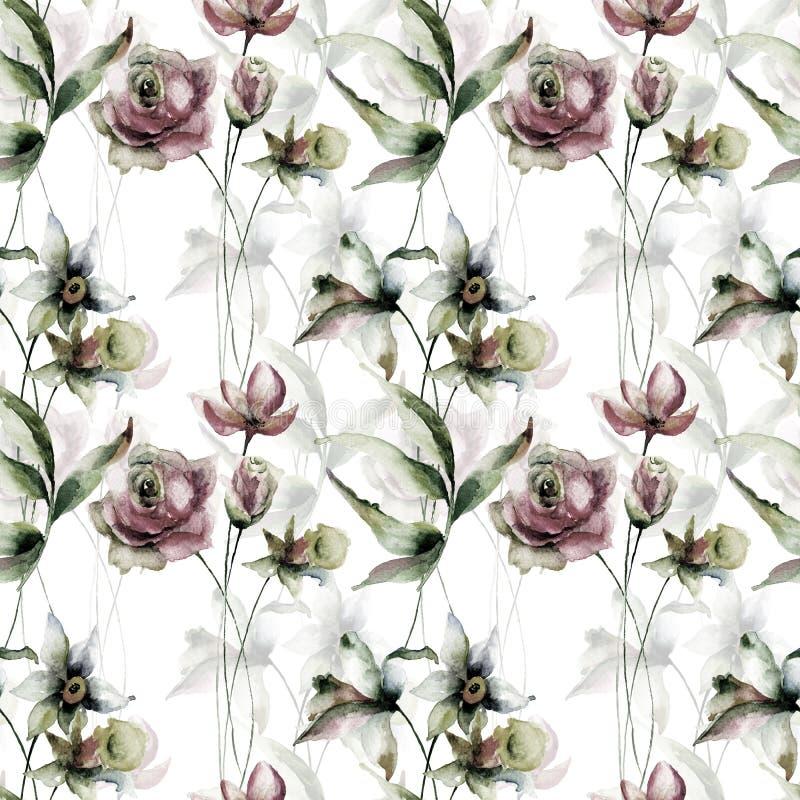Sömlös tapet med pingstlilja- och rosblommor royaltyfri illustrationer