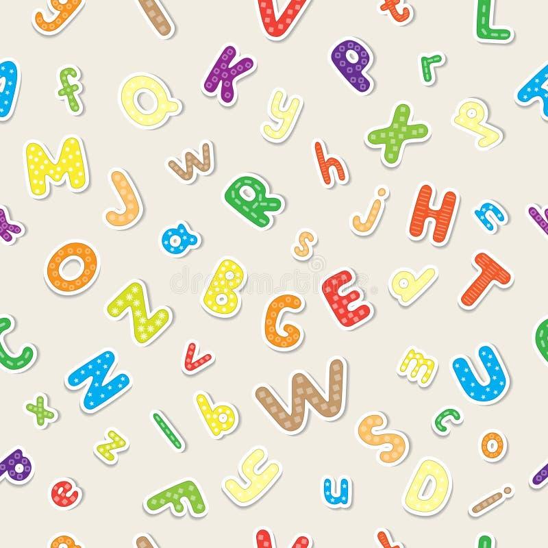 Sömlös tapet som göras av det färgglade gladlynta alfabetet royaltyfri illustrationer