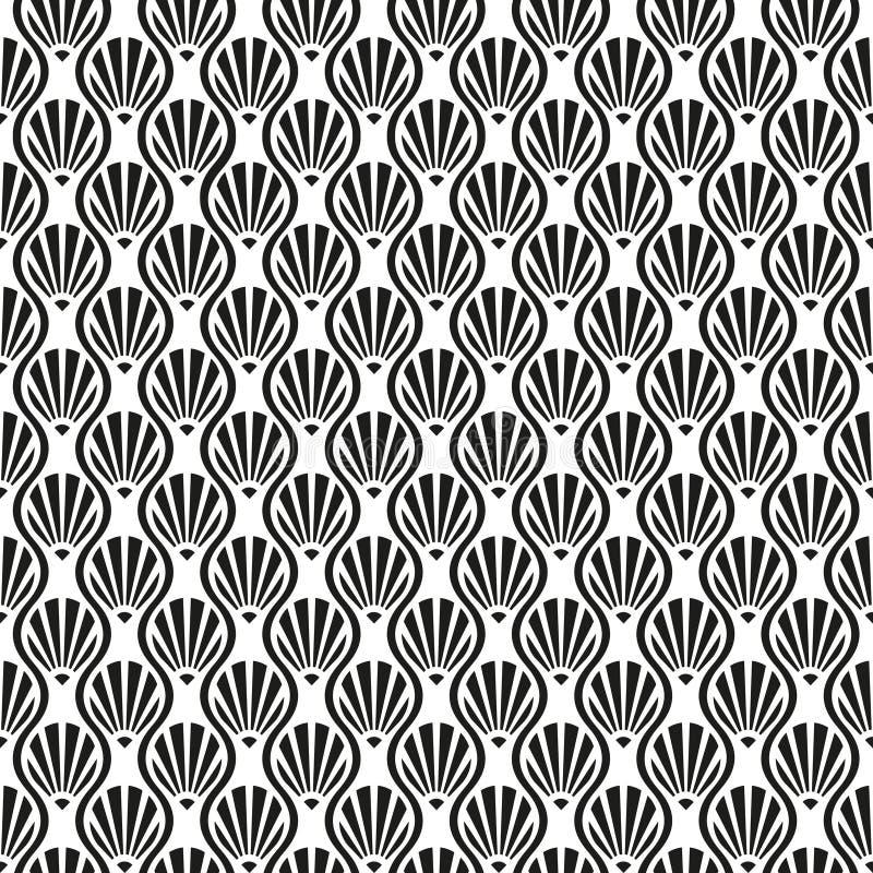 Sömlös tappning Art Deco Shell Pattern Background stock illustrationer