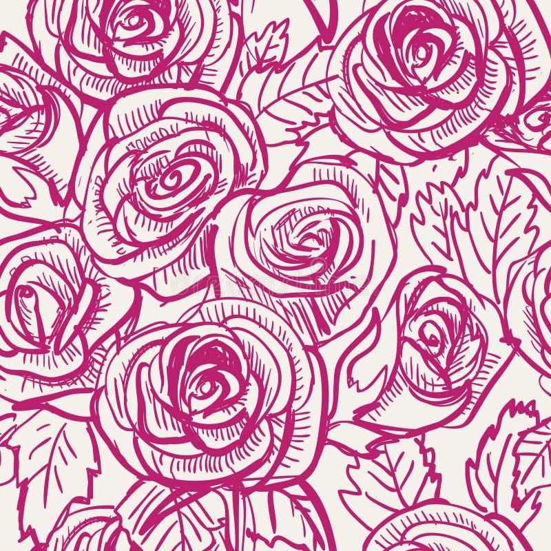 Sömlös tappning inspirerade Rose Pattern, vektor vektor illustrationer
