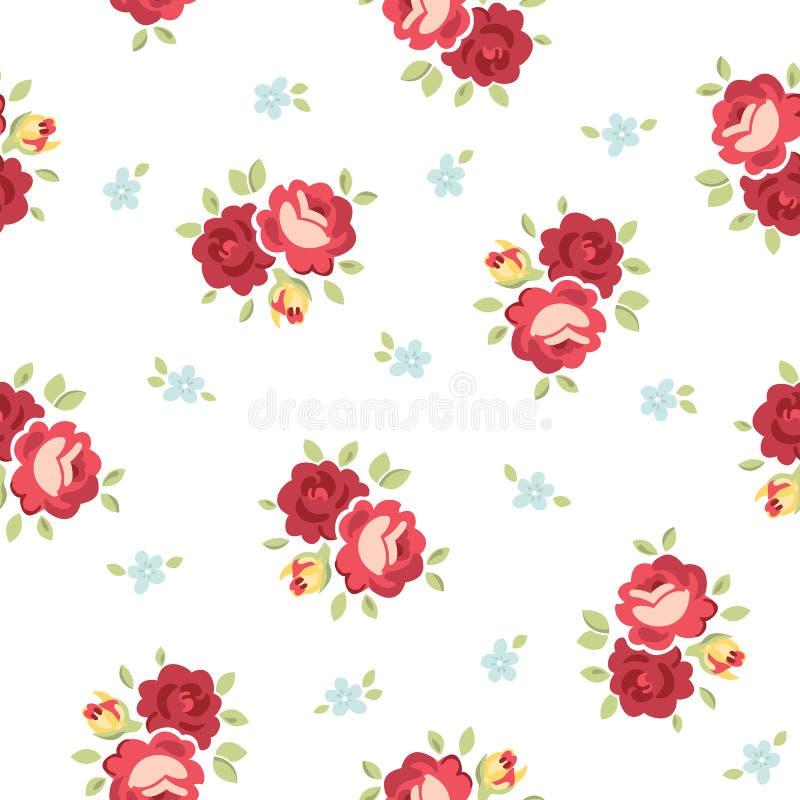 Sömlös tappning Rose Pattern vektor illustrationer