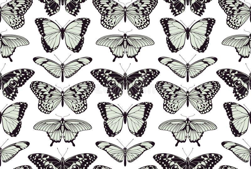 Sömlös tappningbakgrund för fjäril stock illustrationer