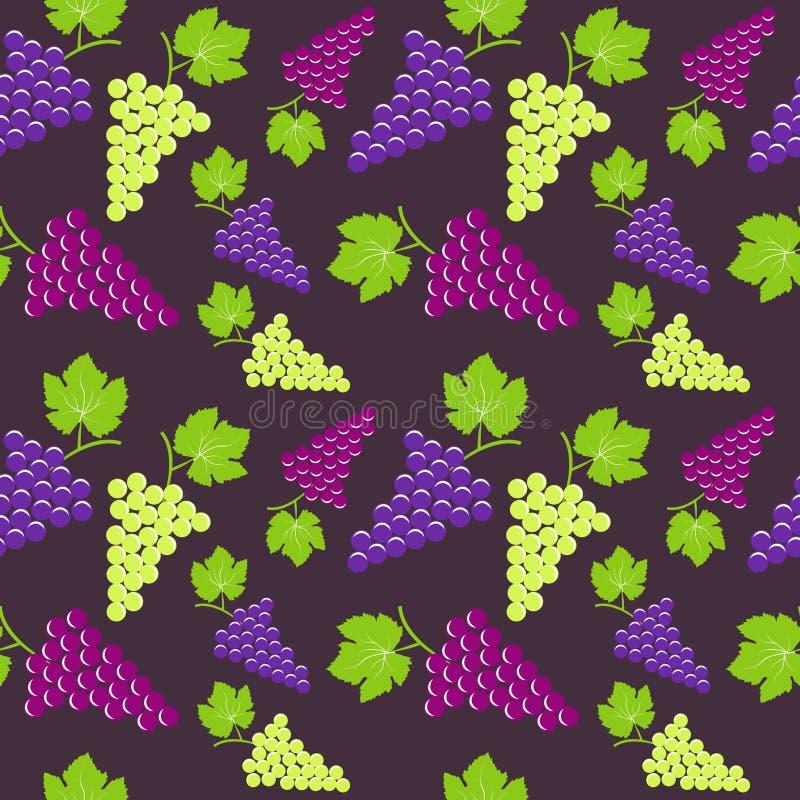 Sömlös tappningbakgrund med gruppen av druvor vektor illustrationer
