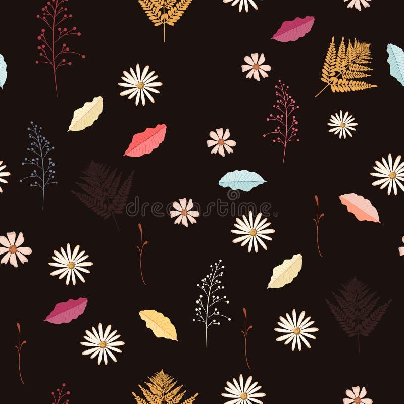 Sömlös tappningbakgrundsmodell med höstsidor, blommor och örter royaltyfri illustrationer