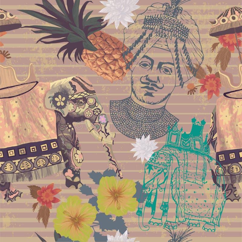 Sömlös tappningmodell med den indiska elefanten, ananas, blommor, maharajahhuvud vektor illustrationer