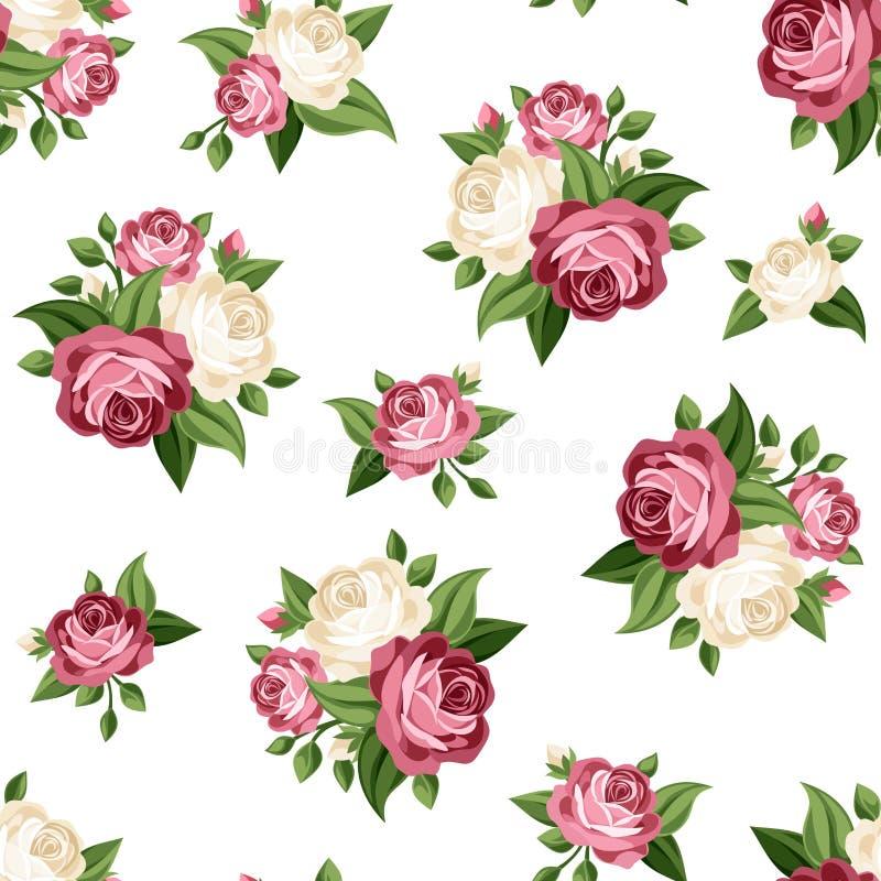 Sömlös tappningmodell med vita rosor för rosa färger och också vektor för coreldrawillustration royaltyfri illustrationer