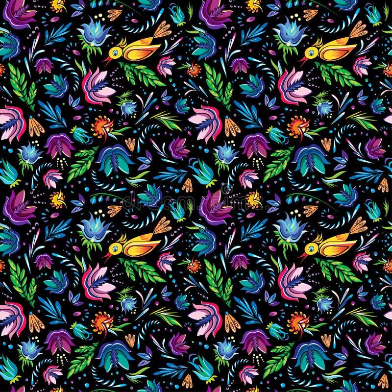 Sömlös tecknad film hand-dragen modell med blommor och fågeln. vektor illustrationer
