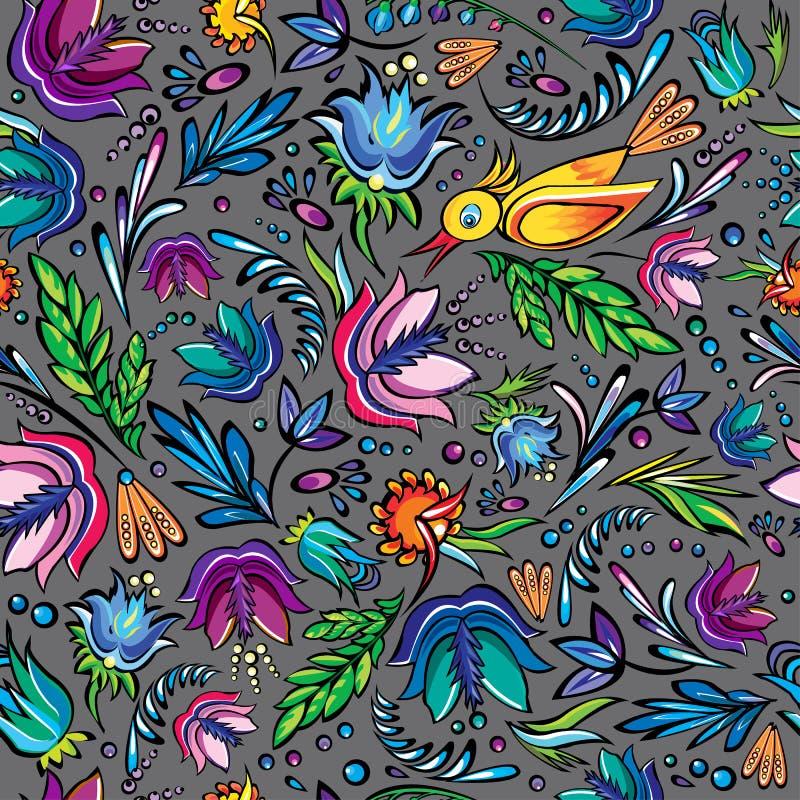 Sömlös tecknad film hand-dragen modell med blommor och fågeln vektor illustrationer
