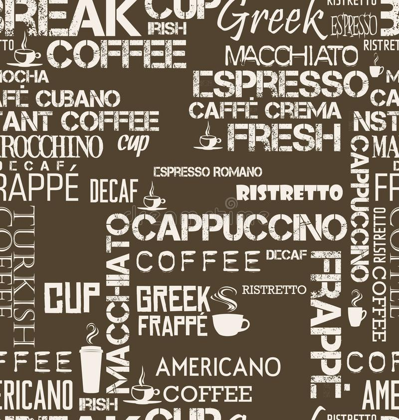 Sömlös tegelplatta för bakgrund av kaffeord- och symbolillustrationen royaltyfri illustrationer