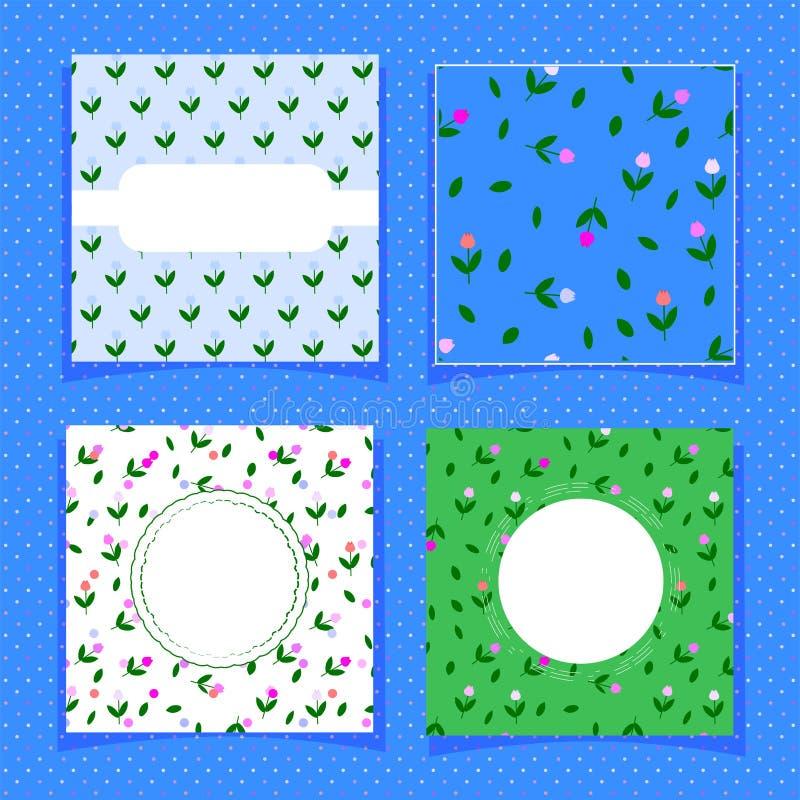 Sömlös tegelplatta för enkla tulpan och tre mallar för sommarkort, baner som skrivar ut på textiler, tyger förpacka för doft royaltyfri illustrationer