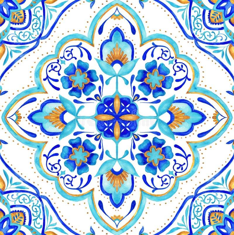 Sömlös tegelplatta för marockansk medaljong - aqua, turkos och guld stock illustrationer