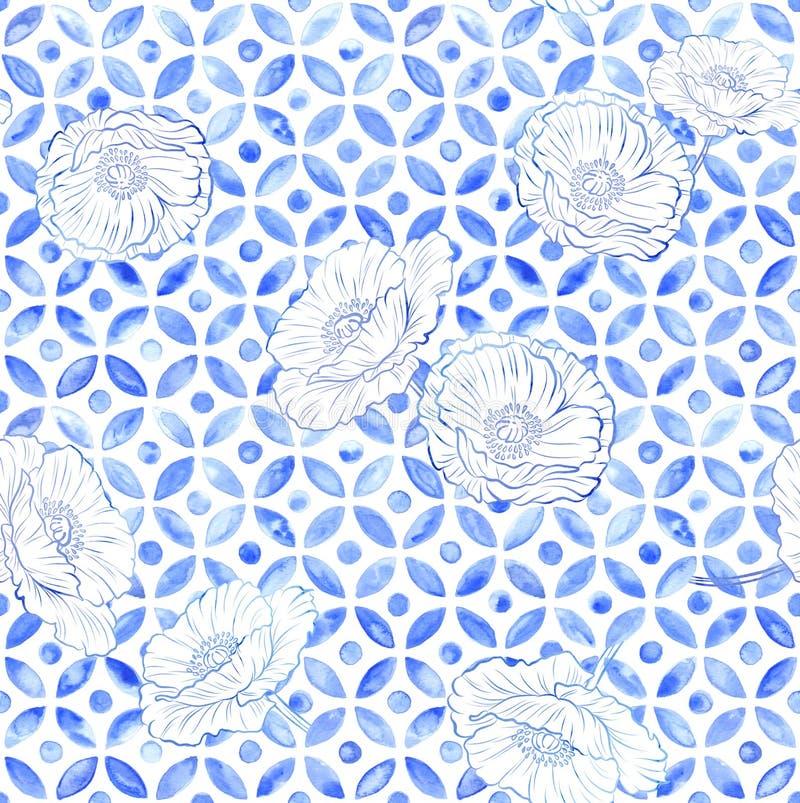 Sömlös tegelplatta för marockanska vallmo - vattenfärg för indigoblå blått stock illustrationer