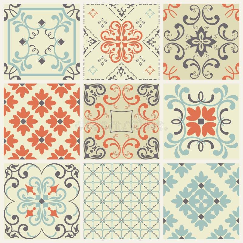Sömlös tegelplatta med den färgrika patchworken Flerfärgad modell för tappning Den ändlösa modellen kan användas för den keramisk stock illustrationer