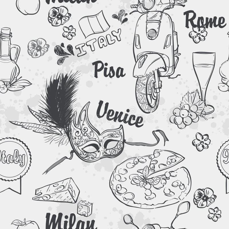 Sömlös textur av ämnet Italien royaltyfri illustrationer