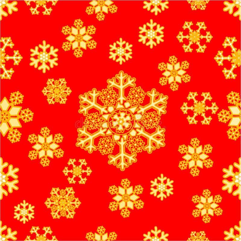 Sömlös textur av den guld- snöflingavektorn stock illustrationer