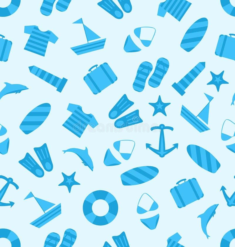 Sömlös textur av det marin- objektet, plana symboler för sommar, lopp royaltyfri illustrationer