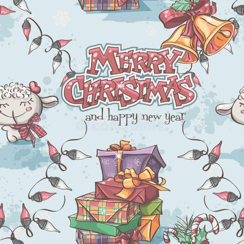 Sömlös textur av det nya året och jul med lammet, gåvorna, klockorna och lyktorna stock illustrationer