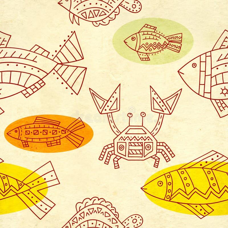 Sömlös textur av gamla pappers- och etnicitetmodeller royaltyfri illustrationer
