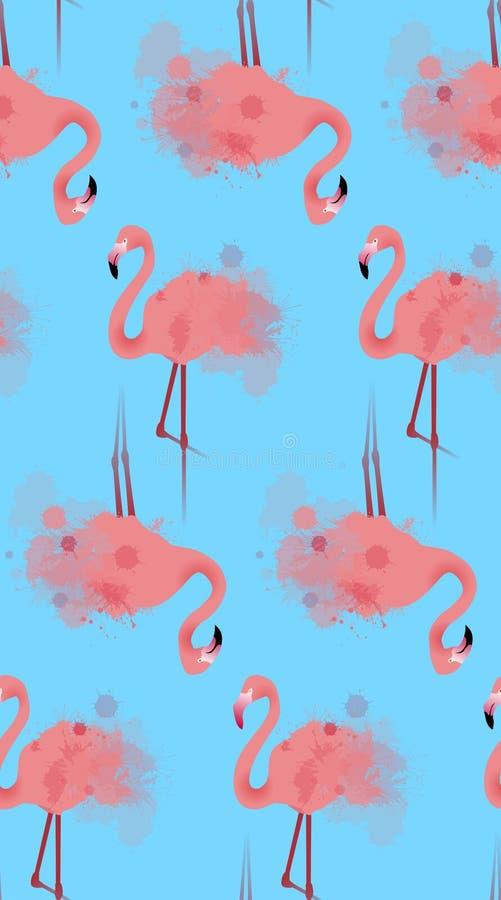 Sömlös textur av rosa flamingo med vattenfärgen plaskar vektor illustrationer